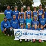 Mehrkampf-Teams der mU18 (hi.), mU16 (mi.) u. wU16 (u.)