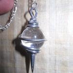 Pendule vibratoire cuivre étamé (argenté) boule cristal de roche