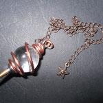Pendule vibratoire cuivre rouge boule cristal de roche
