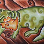 Grüner Marder mit Halstuch - Pastell