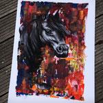 Wild Soul - Kohle, Acryl und Bronzpulver auf Harlequin Velour 250g, ca. A1