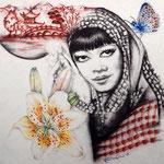 Cause her soul was chinese..., 30x30cm, Bleistift, Kohle, Sangüine, Aquarellstifte auf ----------, 2013