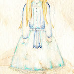 Girl dressed in Ocean, 30x15cm, Aquarell auf Torchon 300g, 2013