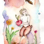 El faunito - Bleistift und Aquarell auf Aquarelle 300 - 17x24 cm - 2014