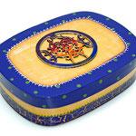 Mandala Celta - Spanschachtel - Acrylmalerei, Leinenpátina, Krakelee, Vitral auf Aufsatz, klarlackiert - B: 21,1  T: 16,2  H: 6  cm - € 18,50