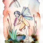 Die Wasserfee - Bleistift und Aquarell auf Aquarelle 300 - 17x24 cm - 2014