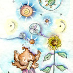 Die Träumerin - Aquarell