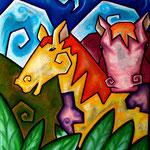 Farbige Freundschaft zwischen Pferden am Wasserfall - Pastell