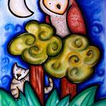 Eule, Katze, Mond! - Pastell