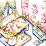 Chiara & Tim in ihrem Zimmer - Original in Farben