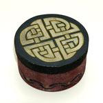 Celtic Knots - Spanschachtel - mahagonigebeitzt, Acrylmalerei, Leinenpátina, bitmunelackiert, klarlackiert - ca. ø 9 x 5 cm - 6,00