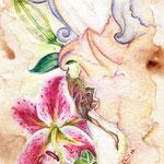 Die Träumende Göttin, 15x30cm, Aquarell, Collage & Buntstift auf Torchon 300g, 2013