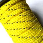 Flach, hohlgeflecht Seil aus Polyprophylen 8mm gelb reflektor