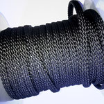 Flach, hohlgeflecht Seil aus Polypropylen 8mm/12mm schwarz