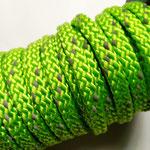 Flach, hohlgeflecht Seil aus Polyprophylen 8mm grün reflektor