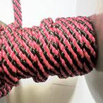 Flach, hohlgeflecht Seil aus Polypropylen 8mm/12mm rot-schwarz