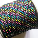 Flach, hohlgeflecht Seil aus Polypropylen 8mm/12mm bunt-schwarz