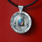 Silber 925, Opal, Kautschukband, Feingoldkügelchen