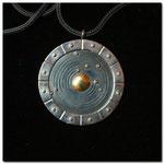 Silber 925, Goldkügelchen (Erde), Goldauflage (Sonne), Fuchsschwanzkette