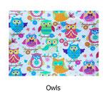 tela estampada algodón Owls