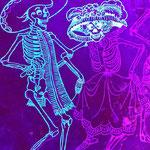 Focus sur un détail d'un mural au sujet de vanitél-Boite de nuit Paris 8-