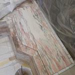 Après raccord -Ici sur la planche imitation marbre à l'acrylique