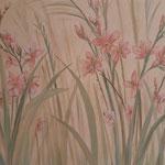 Focus sur un détail d'un mural au sujet floral-Particulier Paris 8-