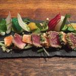 Tataki tonijn en zalm