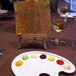 hapje : schildersezeltje met groentencreme's