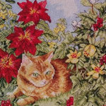 Категория.  22.11.2011. Вышивка крестиком - Рыжий кот в цветах.  Животные.  Просмотров: 370 Дата.