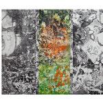 「Work after FUKUSHIMA 」 銅版画、コラージュ 130cm×163cm 2012年