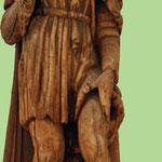 Statue en bois de Saint-Roch, patron des pestiférés, retrouvée dans la vase  lors d'un curage de la Somme.