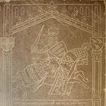 Dalle fermant l'entrée de la Crypte. Gravure d'après le sceau de Renaud, seigneur de Picquigny, Vidame de 1304 à 1315.