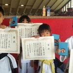 全少県大会三位入賞(小学1年)従兄姉と同時入賞