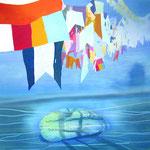 009 Buddhistische Fahnen | Acryl  90 x 90 cm | Privatbesitz