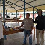 Capitanes Prof.Florencio, Capt Miguel lezama and Ivan calderon founder Campamento Wayare. (Donations school Items)