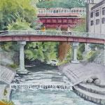 20141003 市美協マイタウンスケッチ会 長野公園石川河川敷 アルシュF6