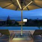 Solar shade with LED light, twilight