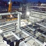H30.12.6 基礎工事が完了し、鉄骨建方が始まりました。