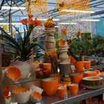 Keramik in Eierschalenoptik, creme-orange