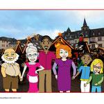 die Familie (Großpapa, Großmama, Vati, Mutti und die Kinder) auf dem Trierer Weihnachtsmarkt