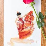 Flamenco, aquarelle#Inktober #Inktober2016
