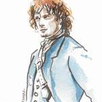 Jamie Fraser - Outlander Fanart - Feutre et aquarelle #Inktober #Inktober2016