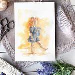 "Aquarelle petite fille rousse lisant ""Le héron"" -  Fanart Outlander Brianna Randall Fraser Mackenzie #Inktober #Inktober2016"