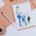 """Encre """"brou de noix"""" et aquarelle, couple dansant le tango #Inktober #Inktober2016"""