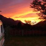 Sonnenuntergang auf dem Camping Los Ñadis