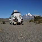 Camp an der Laguna Amarga mit Blick auf die Torres del Paine