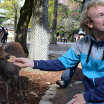 Me feeding one of the holy deer of Nara.