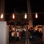 溝口神社のシンボル的な存在ともいえる大きな幟(のぼり)