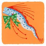 『り』[ɾʲi] リュウグウノつかい giant aorfish「リンゴ柄リボンがお気に入りのリュウグウノつかい」